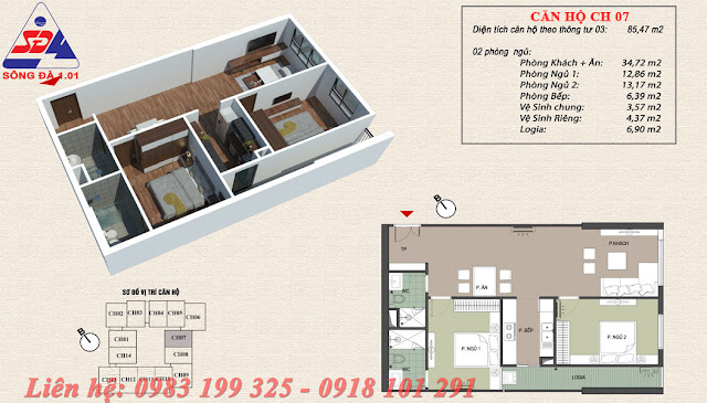 Thiết kế chung cư EcoGreen số 1 Giáp Nhị Căn 07