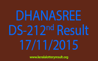 DHANASREE DS 212 Lottery Result 17-11-2015