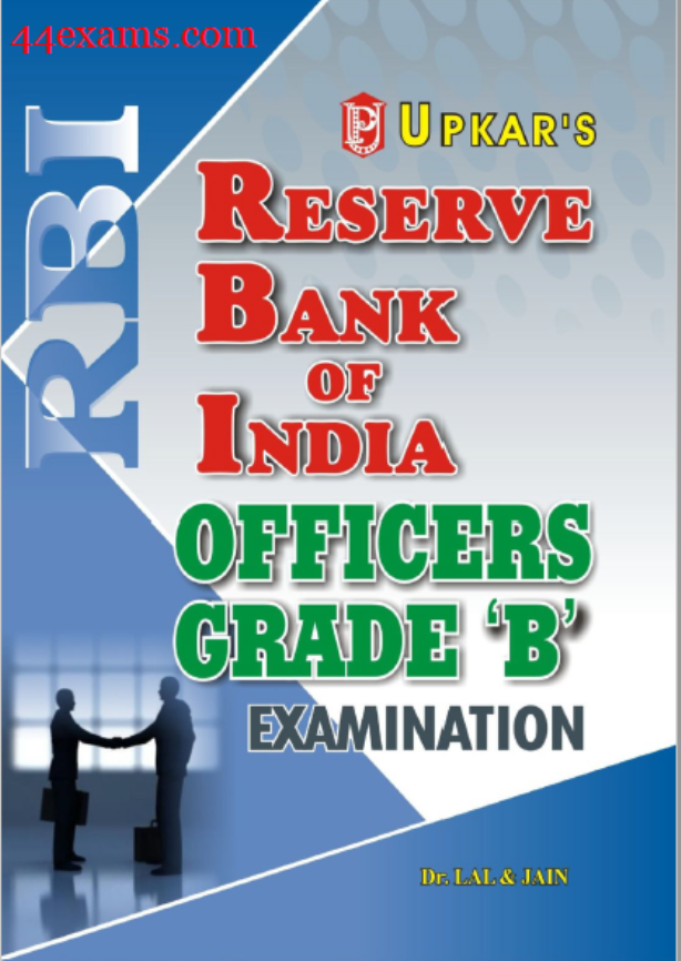 RBI Officers Grade 'B' Phase-I Exam Previous Year Solved Papers By Upkar Publication : English PDF Book