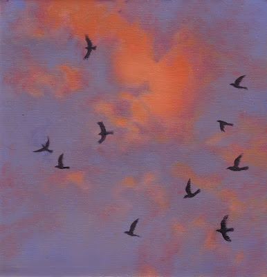 Katherine Kean, Bird by Bird 13, series of small squares, patterns of bird flight, murmuration, aerobatic, swirling cloudscape, drama, modular, red violet blue