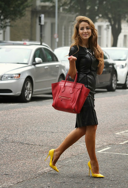 Fashionable Autumn Outfit: Black Dress, Celine Red Bag with Yellow Pumps