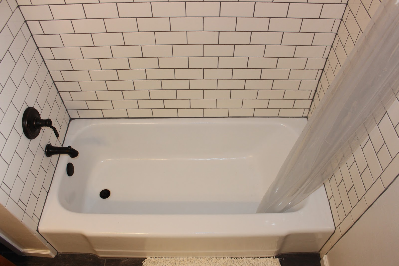 Lightly dappled bathroom renovation 2016 walls daltile white subway tiles and behr irish mist paint dailygadgetfo Images
