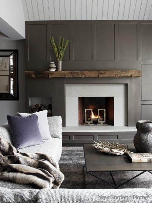 Paneled Family Room: Amazing Gray Paneled Walls