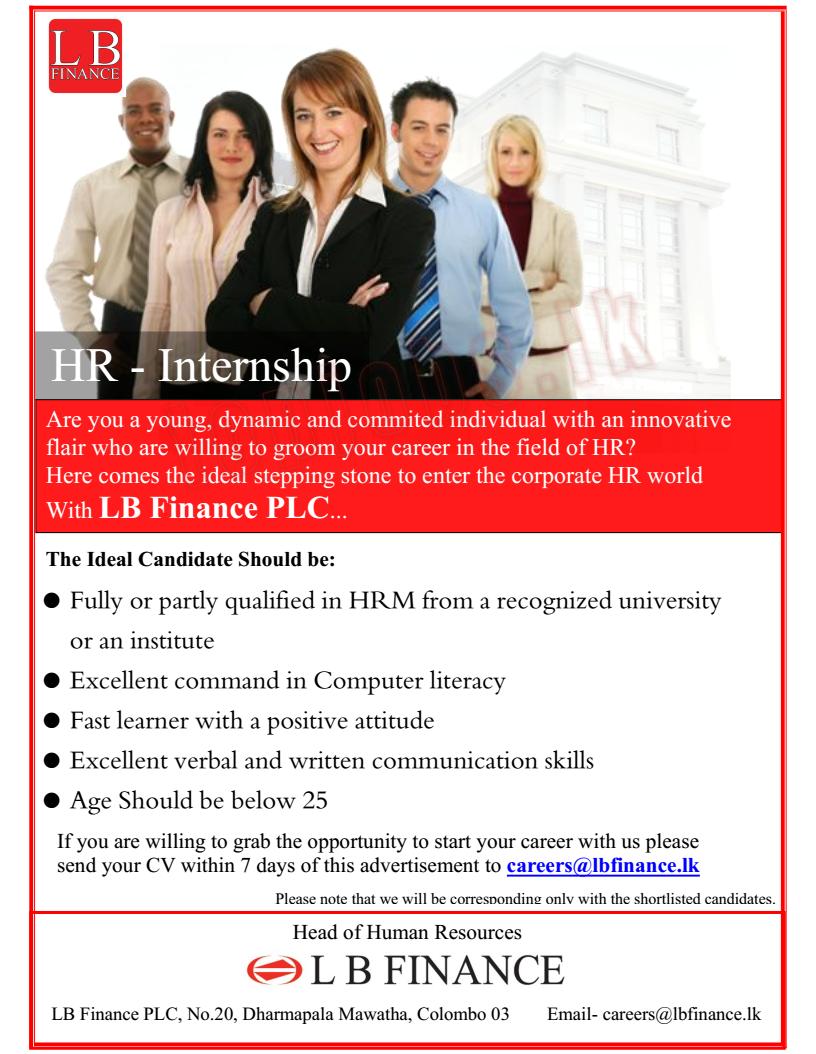 HR - Internship LB Finance - Job Vacancies in Sri Lanka 2019