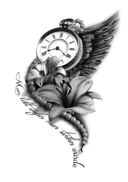 Stunning Clock Flower Tattoos