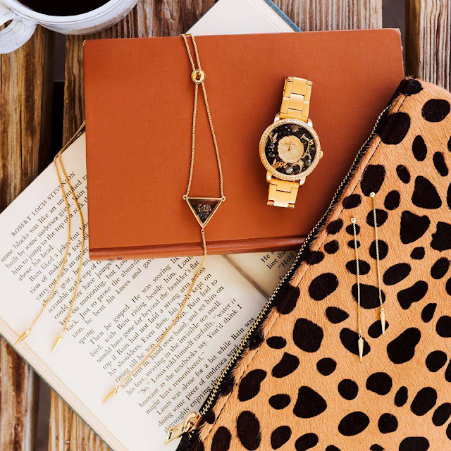 Gold Triangle Living Locket Bolo Necklace and Earrings + Gold Living Locket Watch by Origami Owl at Storied Charms.com