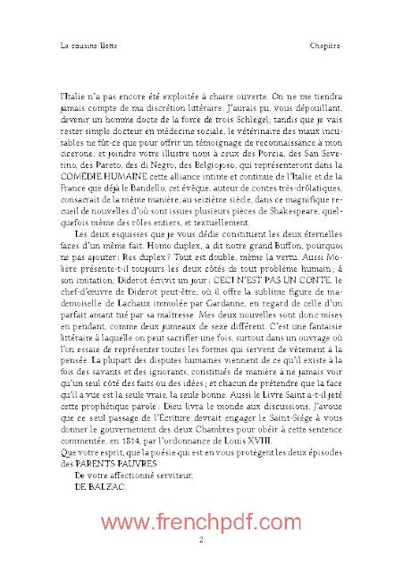 La cousine Bette en pdf gratuit par Honoré de Balzac