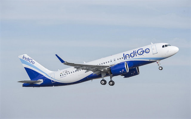 Airbus A320neo of IndiGo Blue White Livery Takeoff