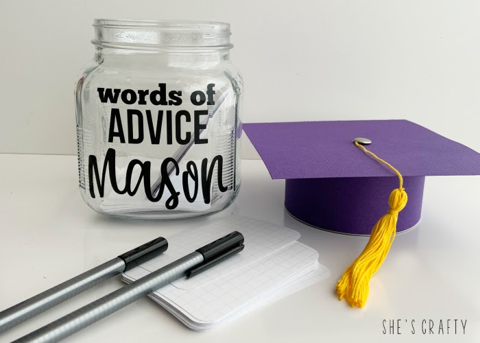 DIY instructions for making a graduation advice jar with glass jar and cardstock
