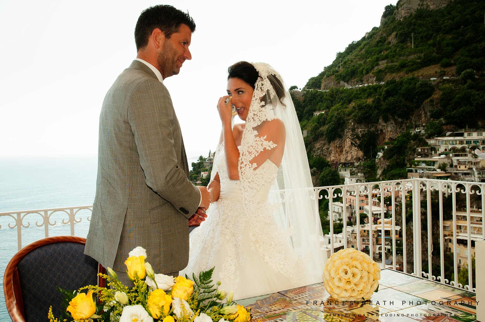 Bride and groom during ceremony in Positano Italy