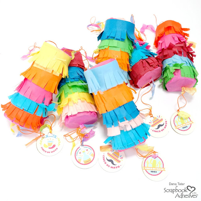 Colorful Paper Roll Pinatas for Cinco de Mayo with Decorated Pull Strings