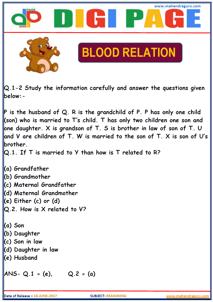 Blood Relation Questions PDF Download Reasoning ...