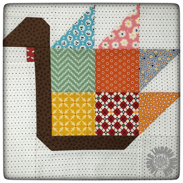 Tom Turkey Block by Thistle Thicket Studio from Bee In My Bonnet. www.thistlethicketstudio.com