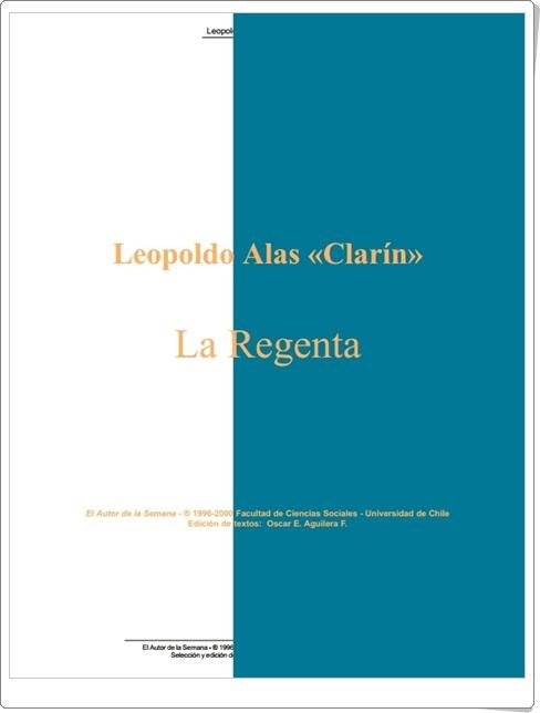 """""""La Regenta"""" de Leopoldo Alas """"Clarín"""""""