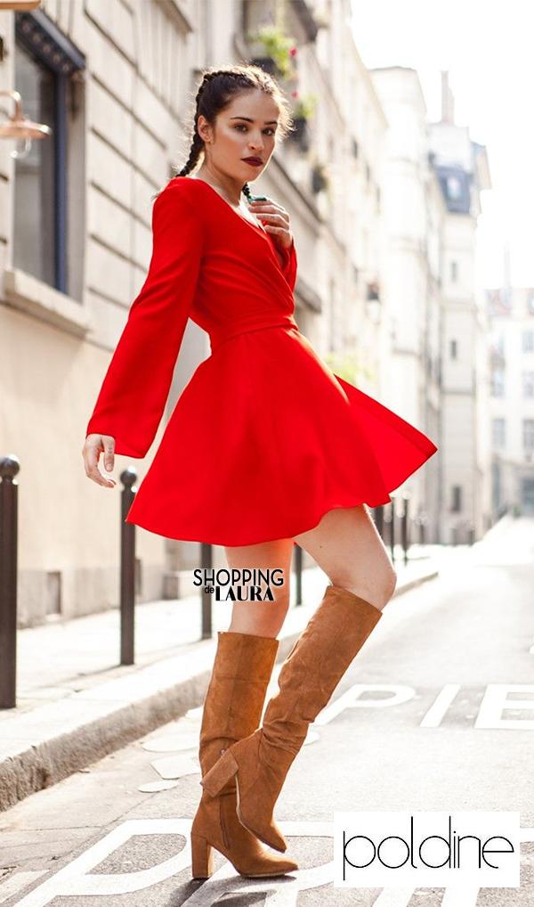 Robe courte rouge de séductrice manches longues : Poldine