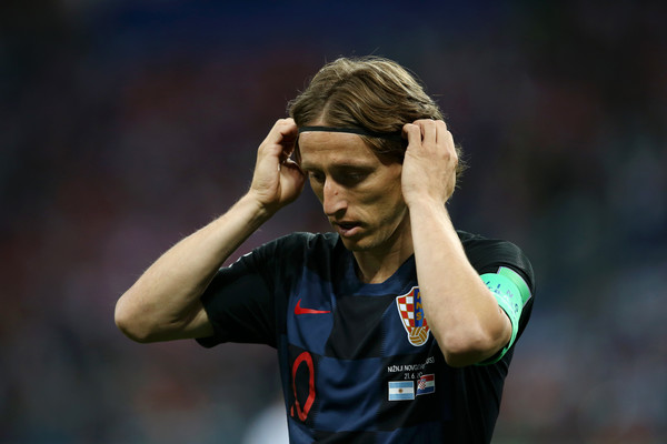 Luka Modric of Croatia reacts prior to the 2018 FIFA World Cup Russia group D match between Argentina and Croatia