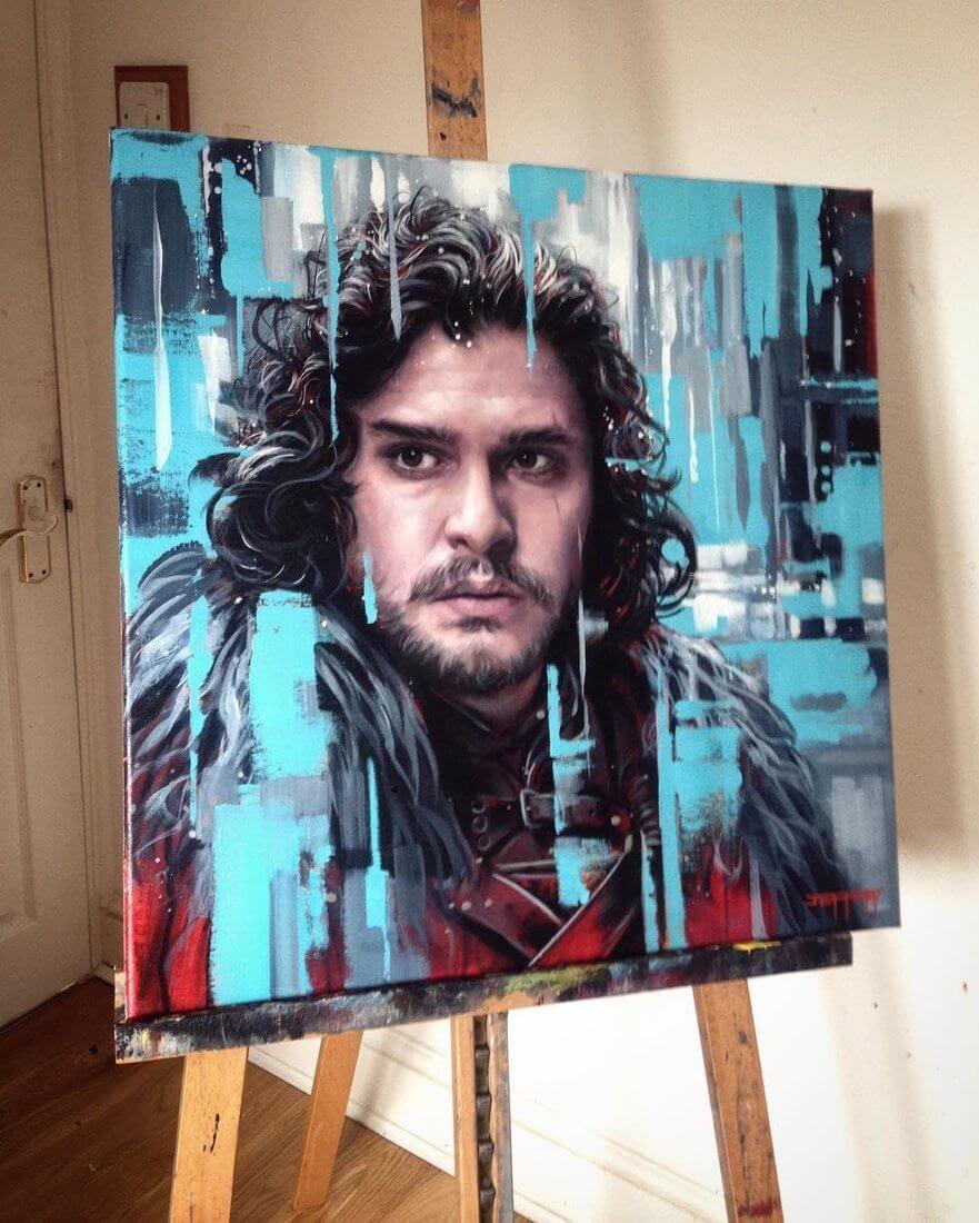02-Jon-Snow-Game-Of-Thrones-Kit Harington-Ben-Jeffery-Superhero-and-Villain-Movie-Paintings-www-designstack-co