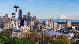 Downtown Seattle, with Mt. Rainier (Credit: kanonsky/iStock/Getty) Click to Enlarge.
