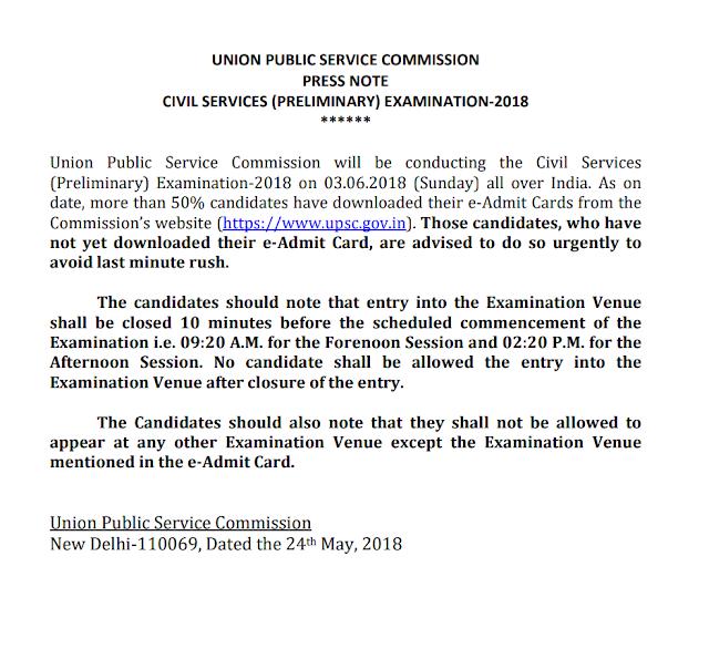 Important Notice: UPSC CSE Civil Services (Preliminary) Examination, 2018