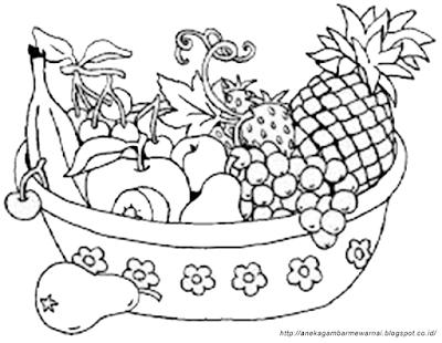 Gambar Mewarnai Buah-buahan Dalam Keranjang (2)