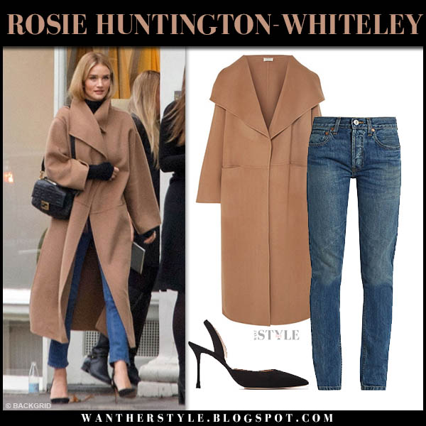 Rosie Huntington-Whiteley in toteme annecy camel coat and jeans model winter street style november 24