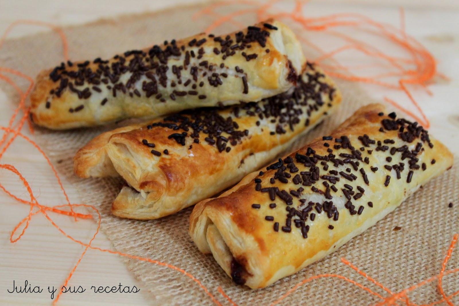 Cañas de chocolate o crema. Julia y sus recetas