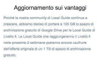 Ridotto spazio Google Drive per Guide Locali