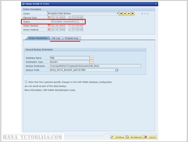 SAP HANA backup completion in SAP ABAP DBACOCKPIT/DB13