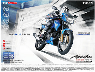 TVS Apache RTR Matte Blue offers | September 2016 discount offer | festival offer