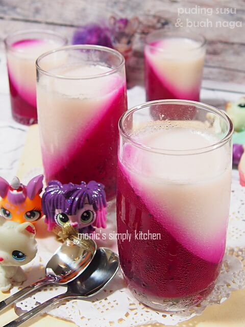 resep puding lapis susu buah naga