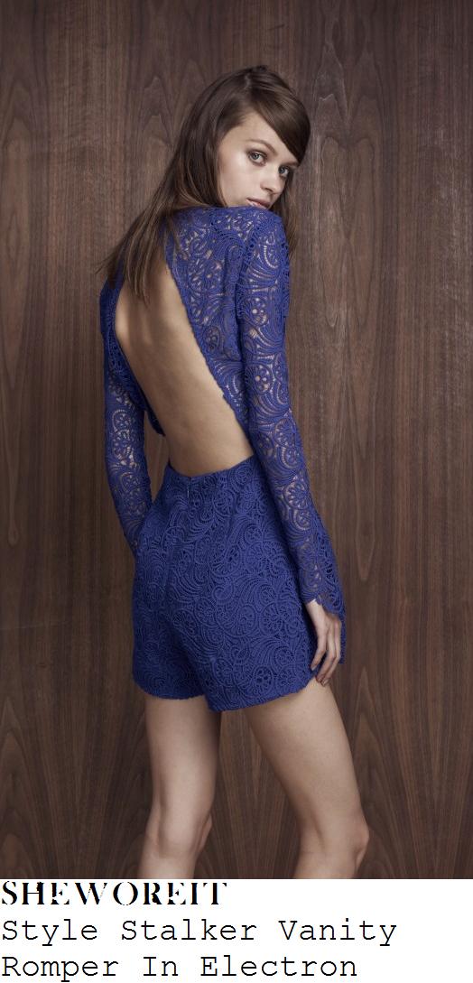 lauren-goodger-bright-blue-sheer-floral-lace-long-sleeve-open-back-playsuit-instagram