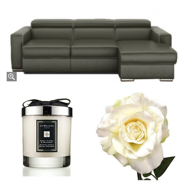 Fishpools Sofa, Jo Malone Candle, Dunelm Flowers