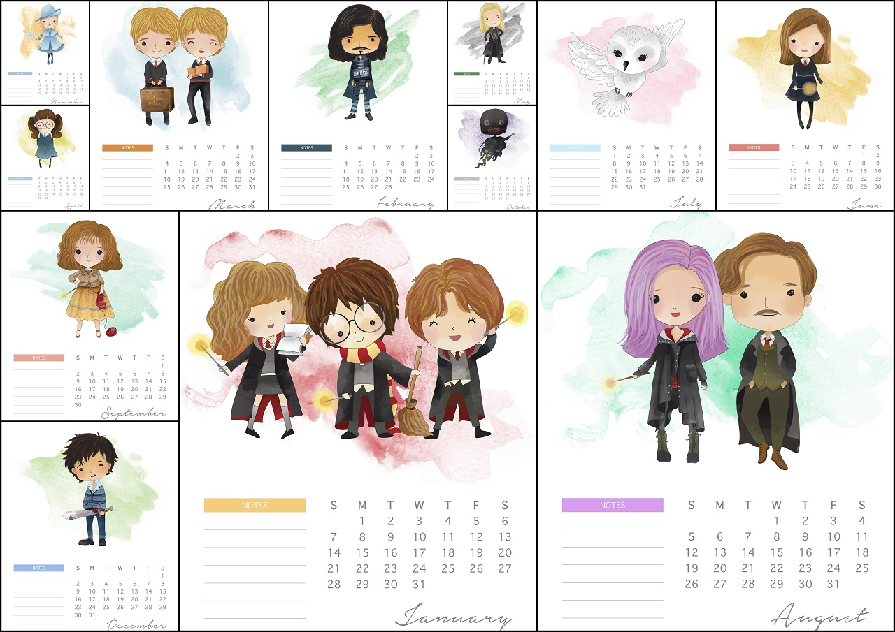 Calendario 2018 de Harry Potter para Imprimir Gratis. | Oh ...