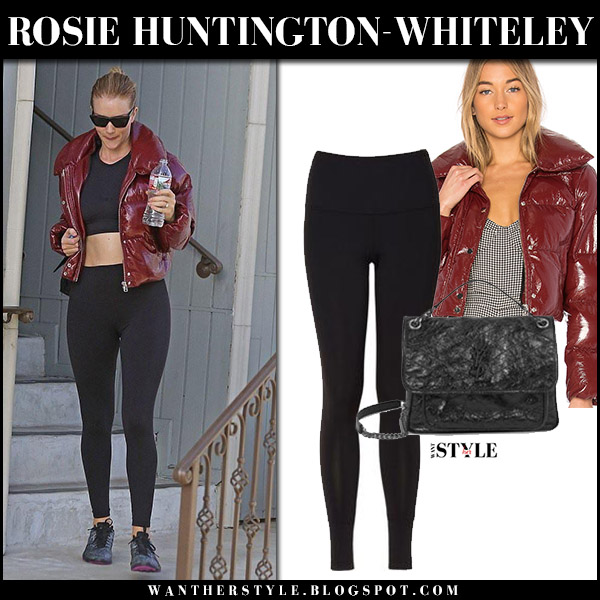 Rosie Huntington-Whiteley in burgundy puffer jacket lpa and black leggings splits59 workout celebrity fashion december 28
