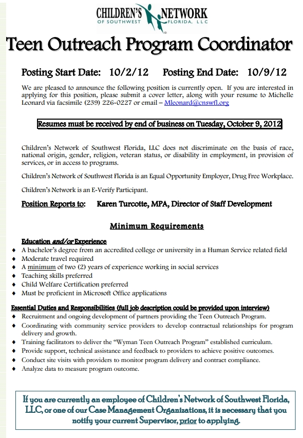 outreach opening teen coordinator job