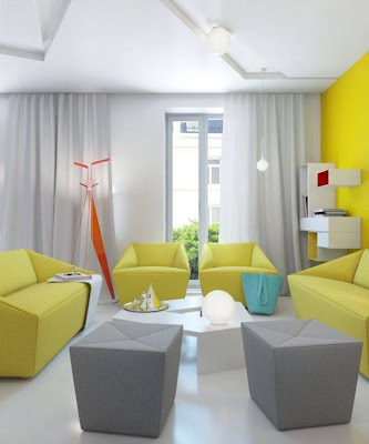 Blue yellow green and red living room design ideas for Blue yellow living room ideas