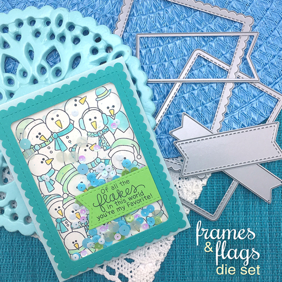 Snowman Shaker card by Jennifer Jackson | Frozen Fellowship Stamp Set and Frames & Flags Die Set by Newton's Nook Designs #newtonsnook #handmade