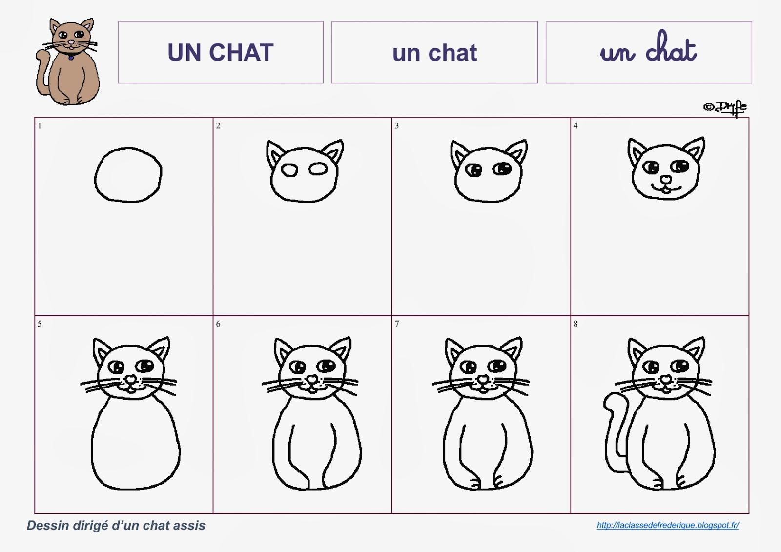 Laclassedefrederique dessins dirig s - Dessin chat assis ...