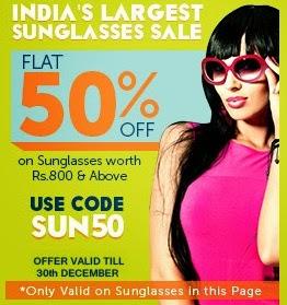 Enjoy Flat 50% Off on Sunglasses at Lenskart (India's Largest Sunglasses Sale)