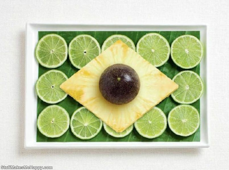 2. Brazil - A leaf of banana palm, lime, pineapple, passion fruit
