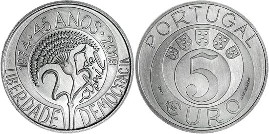 Portugal 5 euro 2019 Carnation Revolution