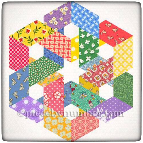 """Hexagonia"" Quilt Block by Piece By Number on Thistle Thicket Studio. www.thistlethicketstudio.com"