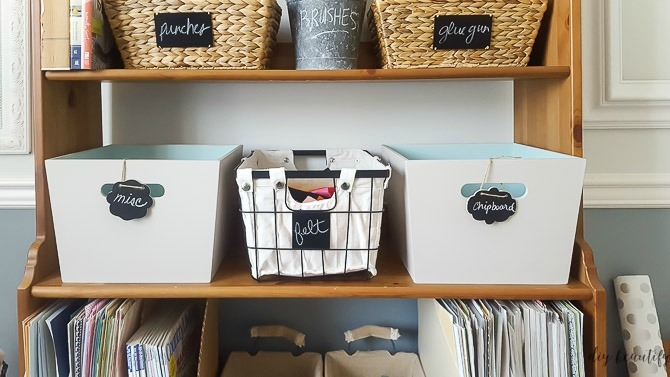 Don't throw out baskets and bins, even if they're no longer your style! Repurpose them using paint! That's what I did with these wood crates; now they match my office decor! See more at diy beautify!