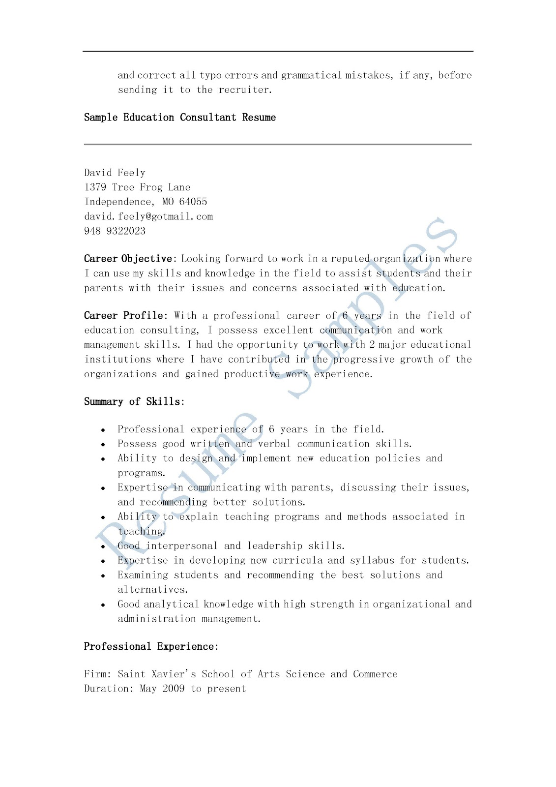 Resume Samples Education Consultant
