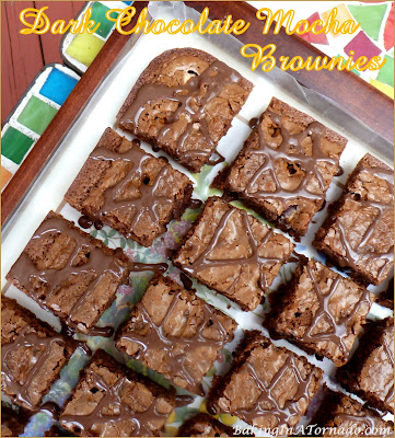 Dark Chocolate Mocha Brownies are a rich, thick dark chocolate brownie infused with coffee flavor and sprinkled with coffee candies. | Recipe developed by www.BakingInATornado.com | #recipe #chocolate