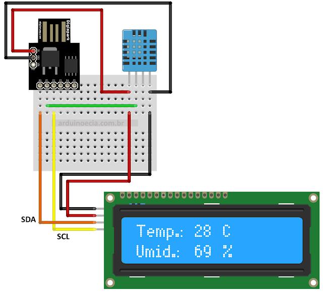 Circuito Digispark ATtiny85 DHT11 e LCD 16x2 I2C