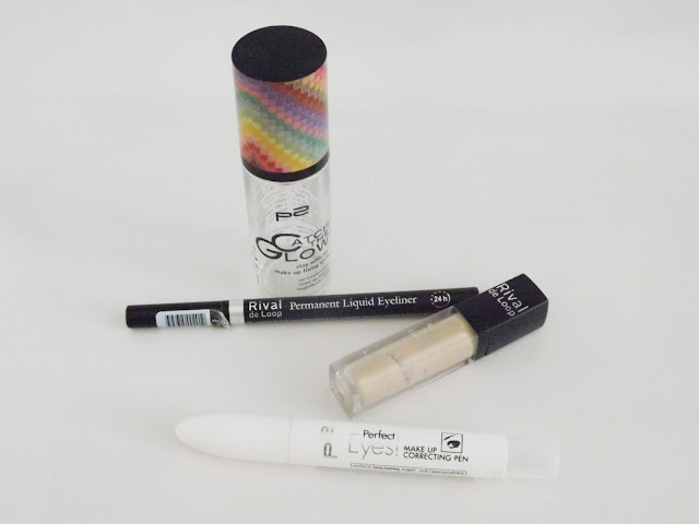 p2 - catch the glow - stay with me! - make up fixing spray LE, Rival de Loop - Permanent Liquid Eyeliner in schwarz, Rival de Loop - Natural Touch Concealer in 01, p2 - Perfect Eyes! Make up correcting Pen
