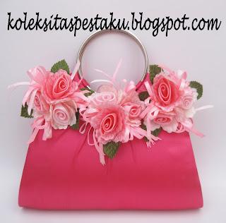 Tas Pesta Clutch Bag Pink Fanta Bunga Cantik