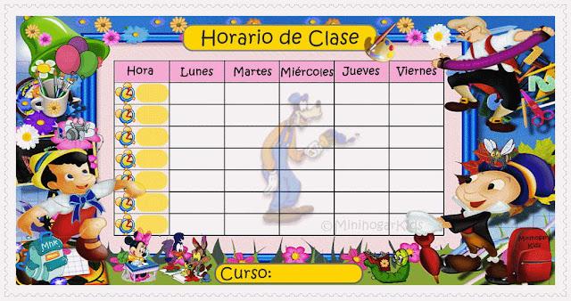 Horario De Clases Infantil Imagui