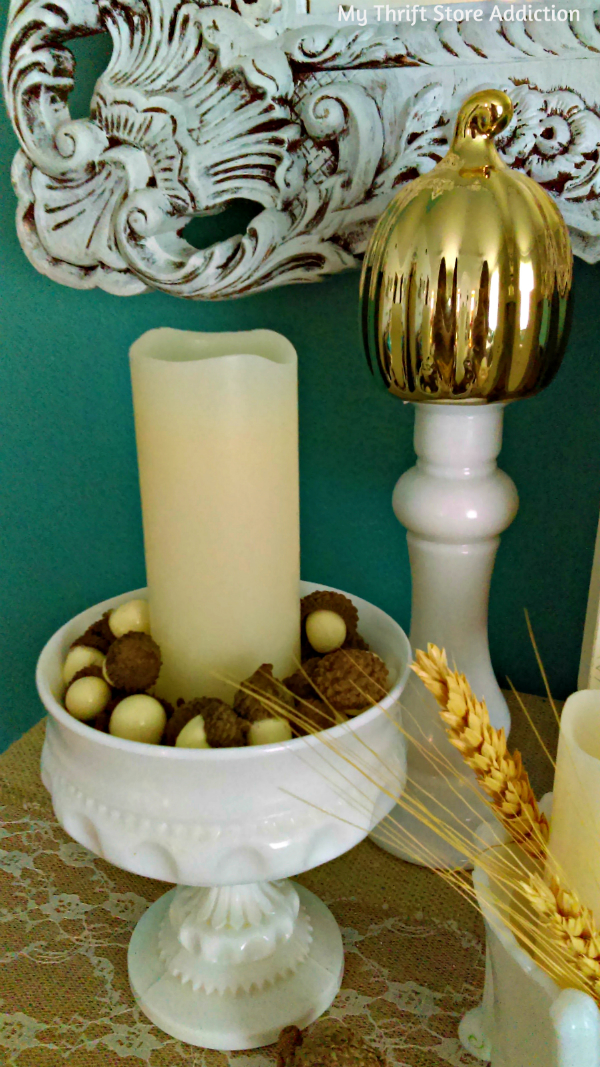 Vintage milk glass mantel